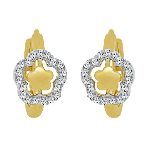 14k Yellow Gold White Rhodium, Mini Hoop Flower Huggies Earring Created CZ Crystals (E011-029)