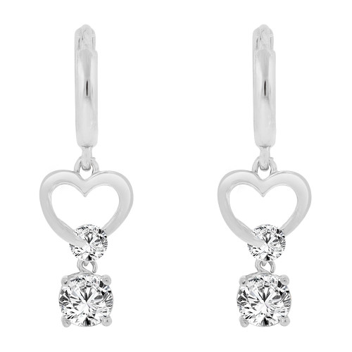 14k Gold White Rhodium, Small Heart Earring Created CZ Crystals (E011-051)