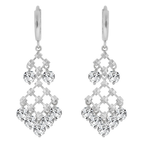 14k Gold White Rhodium, Fancy Chandelier Drop Earring Created CZ Crystals (E011-054)