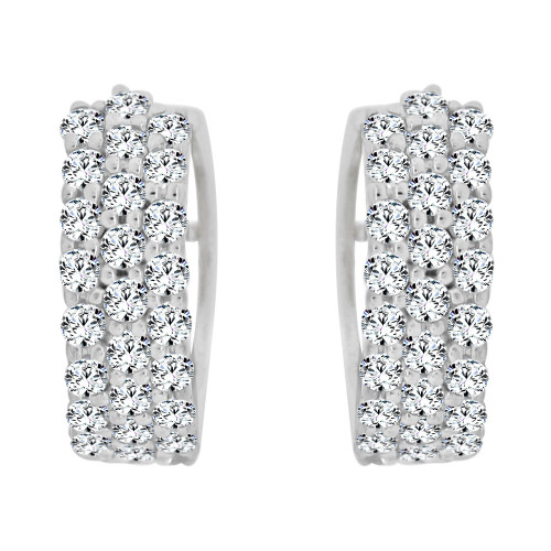 14k Gold White Rhodium, Huggies Mini Hoop Earring Created CZ Crystals (E011-058)