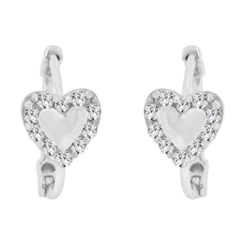 14k Gold White Rhodium, Mini Hoop Heart Stud Earring Created CZ Crystals (E011-059)