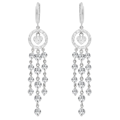 14k Gold White Rhodium, Fancy Chandelier Drop Earring Created CZ Crystals (E011-060)