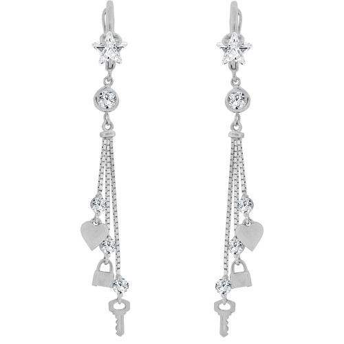 14k Gold White Rhodium, Heart Key Padlock Drop Earring Created CZ Crystals (E011-063)