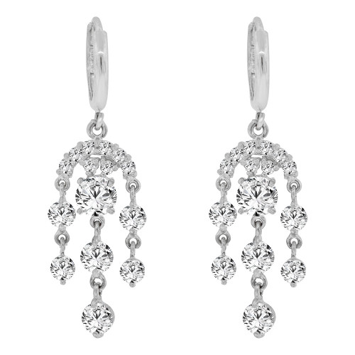 14k Gold White Rhodium, Chandelier Drop Earring Created CZ Crystals (E011-064)