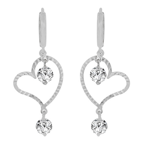 14k Gold White Rhodium, Modern Abstract Heart Earring Created CZ Crystals (E011-065)