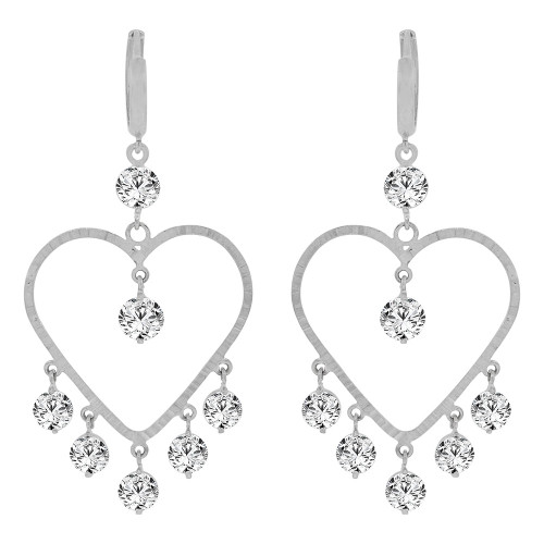14k Gold White Rhodium, Bold Heart Chandelier Drop Earring Created CZ Crystals (E011-069)