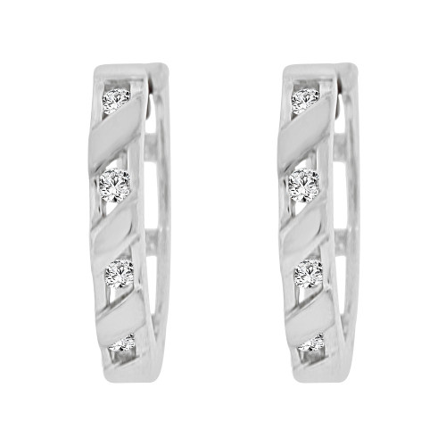 14k Gold White Rhodium, Small Thin Hoop Huggies Earring Created CZ Crystals (E011-075)