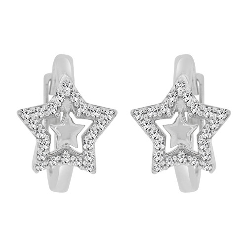14k Gold White Rhodium, Small Hoop Star Huggies Earring Created CZ Crystals (E011-077)