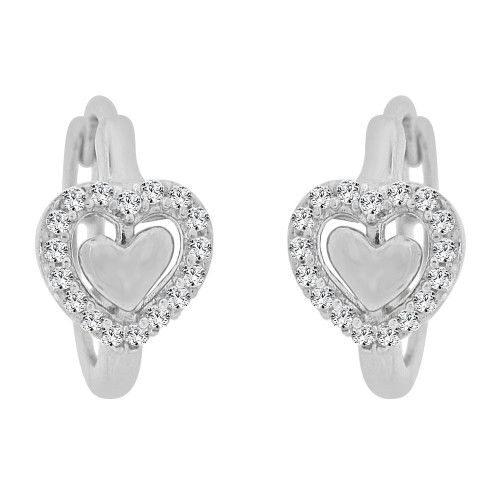14k Gold White Rhodium, Mini Hoop Heart Huggies Earring Created CZ Crystals (E011-078)