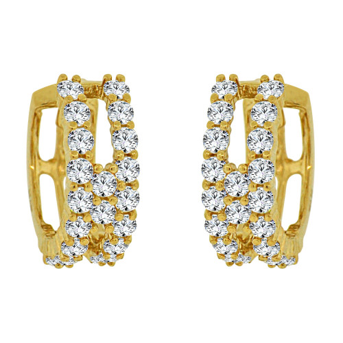 14k Yellow Gold Small Hoop Huggies Earring Created CZ Crystals 10mm Diameter (E012-006)