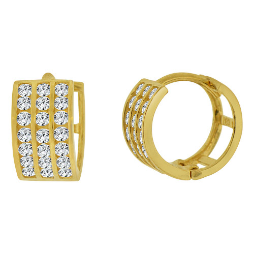 14k Yellow Gold Small Hoop 3 Row Huggies Earring Created CZ Crystals 9mm Diameter (E012-007)