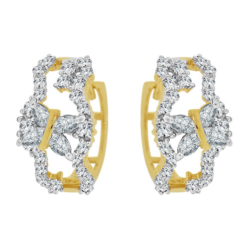 14k Yellow Gold White Rhodium Fancy Small Hoop Huggies Earring Created CZ Crystals 12mm Diameter (E012-009)