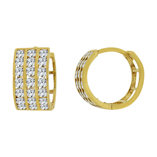 14k Yellow Gold Small Hoop 3 Row Huggies Earring Created CZ Crystals 11mm Diameter (E012-010)