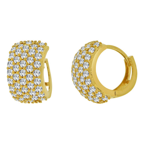 14k Yellow Gold Small Hoop Wide Huggies Earring Created CZ Crystals 9mm Diameter (E012-012)