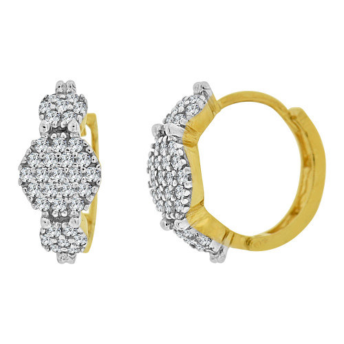 14k Yellow Gold White Rhodium Small Hoop Huggies Earring Created CZ Crystals 11mm Diameter (E012-015)