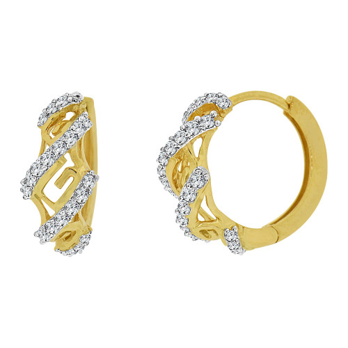 14k Yellow Gold White Rhodium Hoop Huggies Greek Key Earring Created CZ Crystals 11mm Diameter (E012-018)
