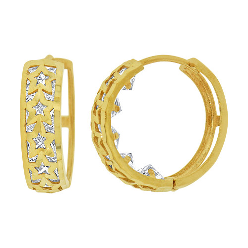 14k Yellow Gold Small Hoop Huggies Star Earring Created CZ Crystals 16mm Diameter (E012-023)