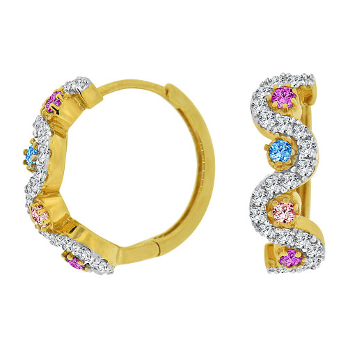 14k Yellow Gold White Rhodium Small Hoop Huggies Wave Earring Various Colors Created CZ Crystals (E012-024)