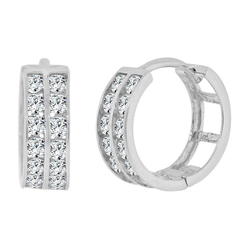 14k Gold White Rhodium Small Hoop Huggies Earring Created CZ Crystals 11mm Diameter (E012-052)