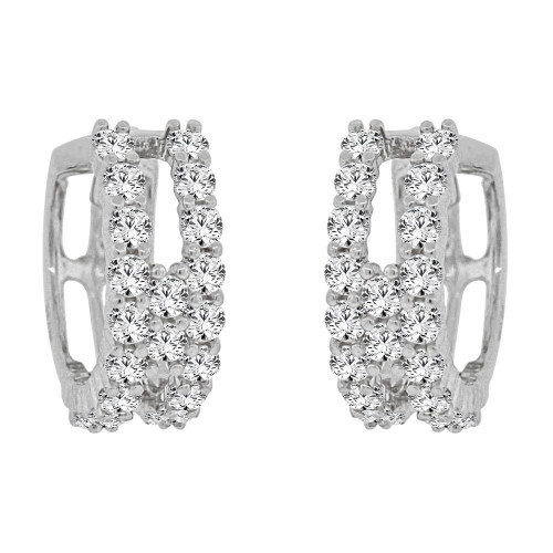 14k Gold White Rhodium Small Hoop Huggies Earring Created CZ Crystals 10mm Diameter (E012-056)