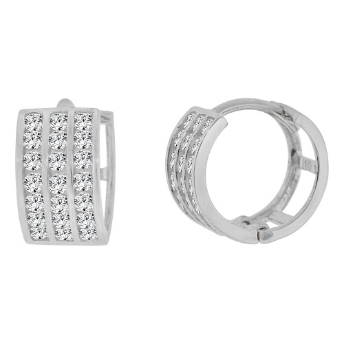 14k Gold White Rhodium Mini Hoop Huggies Earring Created CZ Crystals 9mm Diameter (E012-057)