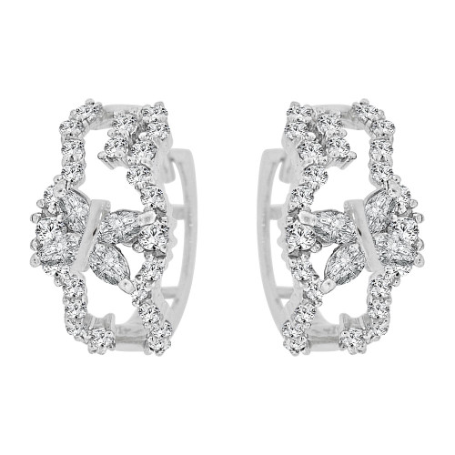 14k Gold White Rhodium Fancy Small Hoop Huggies Earring Created CZ Crystals 12mm Diameter (E012-059)