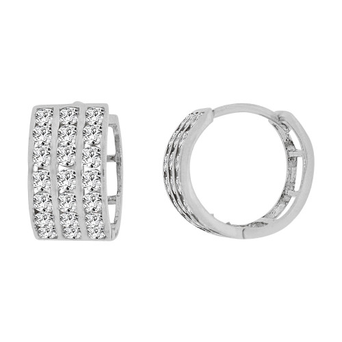 14k Gold White Rhodium Small Hoop 3 Row Huggies Earring Created CZ Crystals 11mm Diameter (E012-060)
