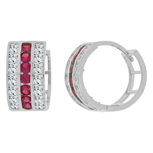 14k Gold White Rhodium Hoop 3 Row Huggies Earring Red & White Created CZ Crystals 11mm Diameter (E012-061)