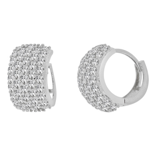 14k Gold White Rhodium Small Hoop Wide Huggies Earring Created CZ Crystals 9mm Diameter (E012-062)