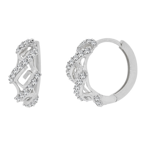 14k Gold White Rhodium Mini Hoop Huggies Earring Created CZ Crystals 11mm Diameter (E012-068)
