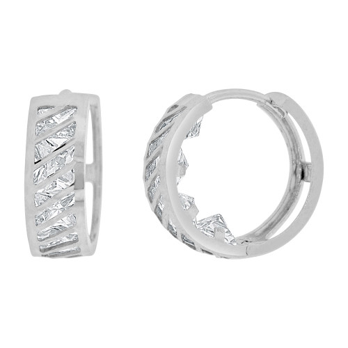 14k Gold White Rhodium Small Hoop Huggies Lines Earring Created CZ Crystals 12mm Diameter (E012-071)