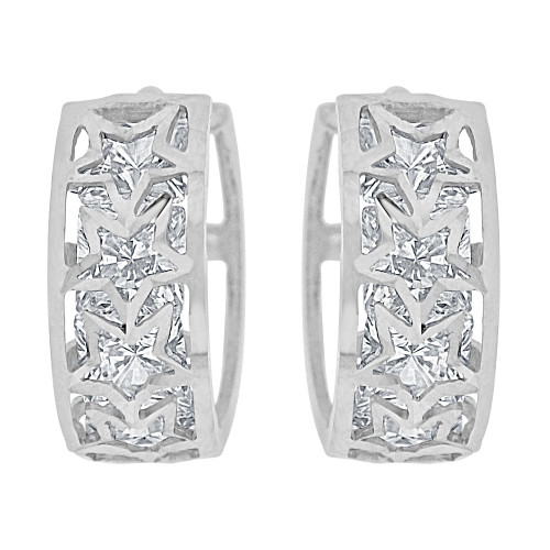 14k Gold White Rhodium Small Hoop Huggies Star Earring Created CZ Crystals 12mm Diameter (E012-072)