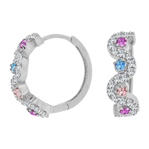 14k Gold White Rhodium Small Hoop Huggies Wave Earring Various Colors Created CZ Crystals (E012-074)