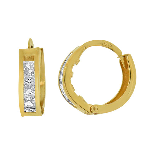 14k Yellow Gold Mini Hoop Huggies Earring Created CZ Crystals (E012-025)