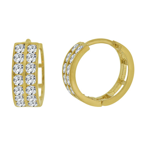 14k Yellow Gold Small Hoop Huggies Earring 2 Rows Created CZ Crystals (E012-026)