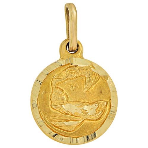 14k Yellow Gold, Mini Baptism Christening Religious Pendant Charm Round 10mm (P012-001)