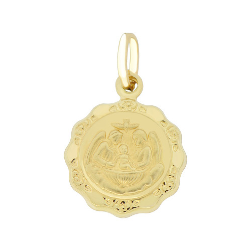 14k Yellow Gold, Small Baptism Christening Religious Pendant Puffed Hollow Round 15mm (P007-002)