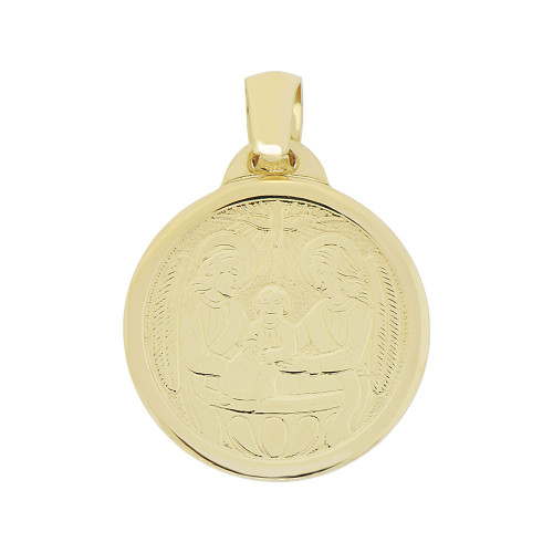 14k Yellow Gold, Baptism Christening Engraved Religious Pendant Medal Round 16mm (P007-003)