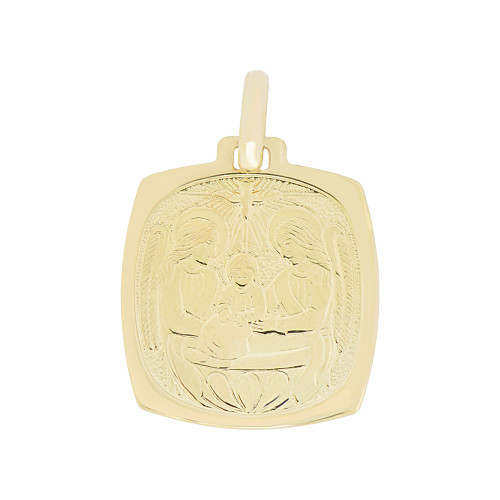 14k Yellow Gold, Baptism Christening Engraved Religious Pendant Medal Rounded Square 16mm (P007-004)