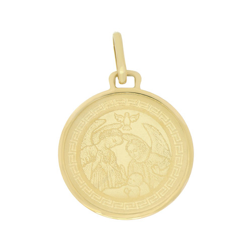 14k Yellow Gold, Baptism Christening Laser Engraved Medal Religious Round Light Weight 19mm (P007-018)