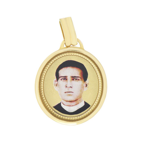 14k Yellow Gold, Colorful Santo Toribio Romo Saint Religious Pendant Medal Oval (P007-025)