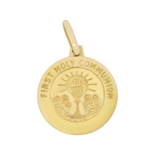 14k Yellow Gold, First Holy Communion Round Religious Pendant Medal 18mm Wide (P008-002)