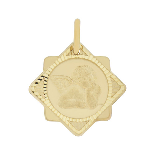 14k Yellow Gold, Fancy Rafael Angel Pendant Sparkly Cuts 19mm Wide (P008-005)