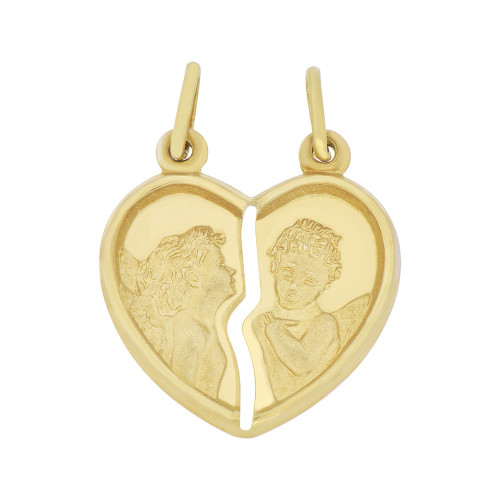 14k Yellow Gold, Sharing Heart Two Angel Pendant Love & Commitment 22mm Wide  (P008-007)