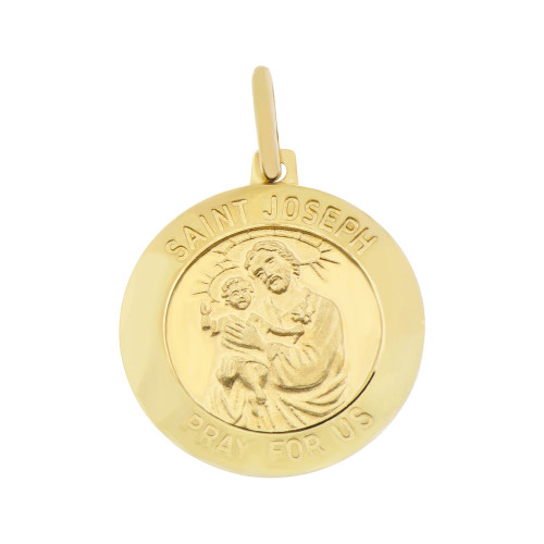 14k Yellow Gold, Saint Joseph Medal Religious Pendant Round Charm 15mm Wide (P008-016)