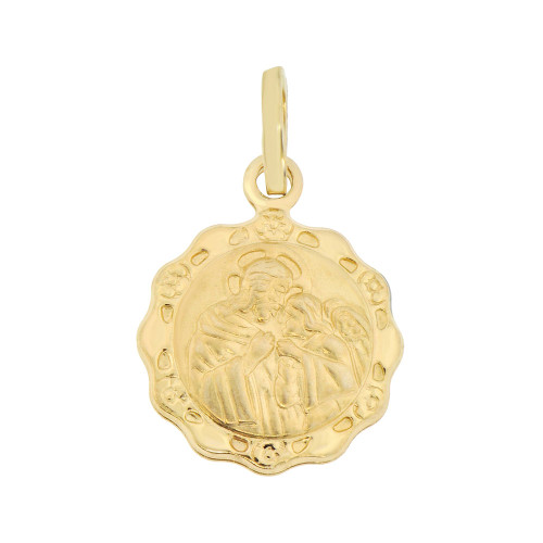 14k Yellow Gold, Mini Communion Hollow Religious Pendant Medal Round 12mm Wide (P008-020)