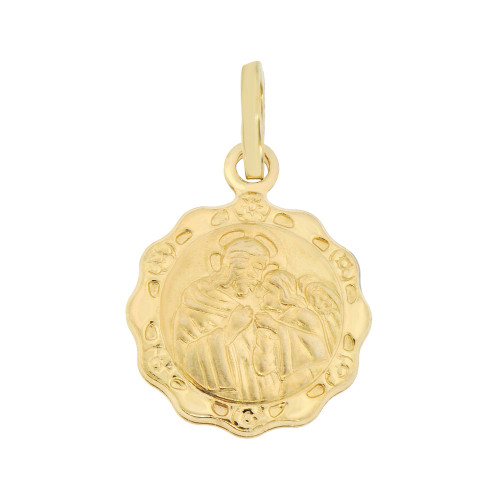 14k Yellow Gold, Small Communion Hollow Religious Pendant Medal Round 15mm Wide (P008-014)