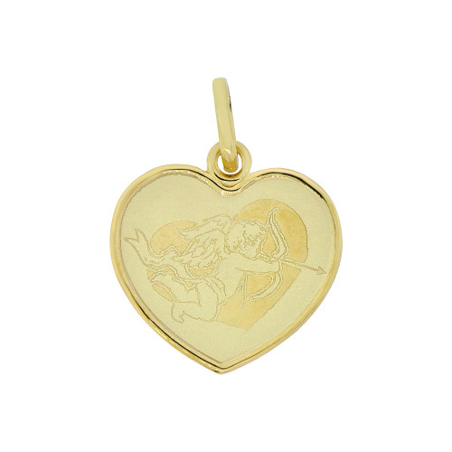 14k Yellow Gold, Light Weight Cupid Angel Laser Engraved Heart Pendant 18mm (P009-016)