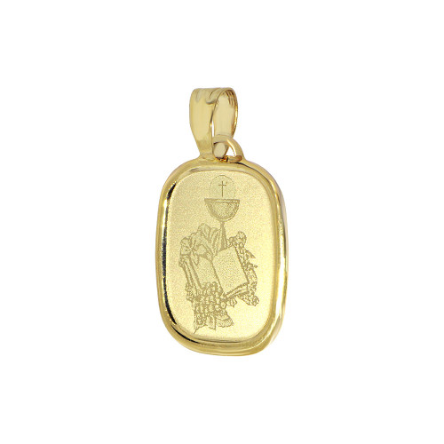 14k Yellow Gold, Light Weight Communion Confirmation Religious Pendant Laser Engraved 15mm (P009-020)