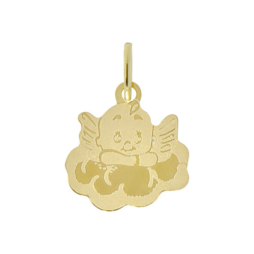 14k Yellow Gold, Small Angel On A Cloud Laser Engraved Light Weight Pendant 15mm (P009-023)